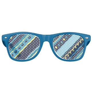 Festive Blue & Yellow Stripes Retro Sunglasses