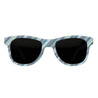 Festive Blue & Yellow Stripes Sunglasses