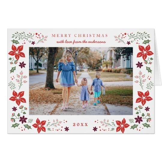 Festive Botanical Holiday Photo Greeting Card
