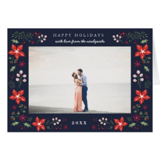 Festive Botanical Holiday Photo Greeting Card