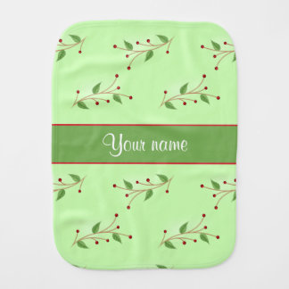 Festive Branches and Berries Baby Burp Cloth
