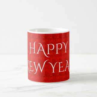 Festive Bright Red Color Happy New Year Text Coffee Mug