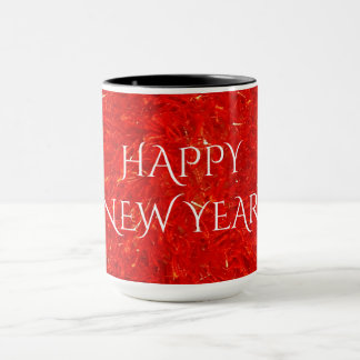 Festive Bright Red Color Happy New Year Text Mug
