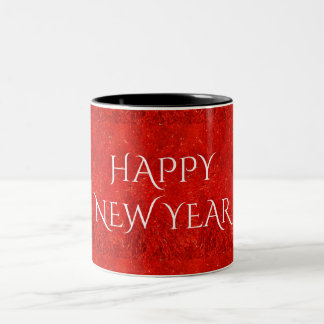 Festive Bright Red Color Happy New Year Text Two-Tone Coffee Mug