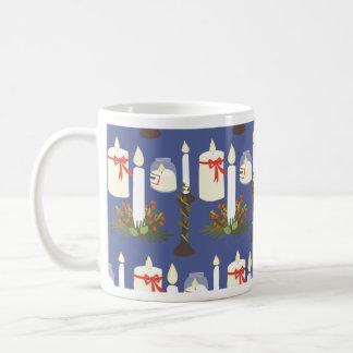 Festive Candle Print Blue Coffee Mug