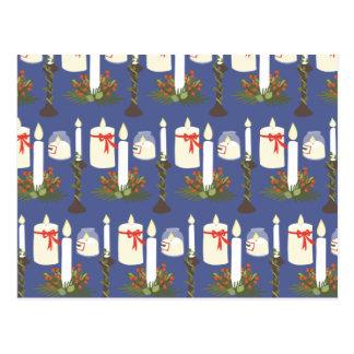 Festive Candle Print Blue Postcard