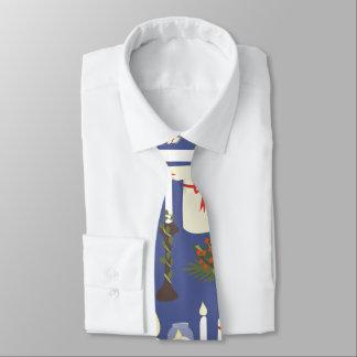 Festive Candle Print Blue Tie