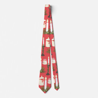 Festive Candles Print Red Tie