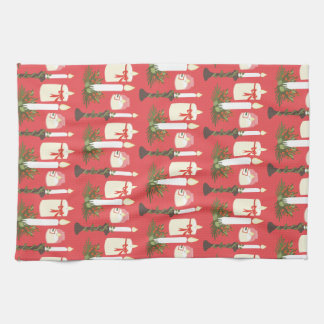 Festive Candles Print Red Towels