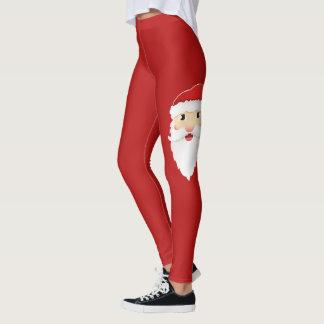 Festive Cartoon Santa Claus Head Christmas Red Leggings
