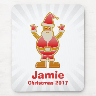 Festive Cartoon Santa Gingerbread Cookie Customize Mouse Pad