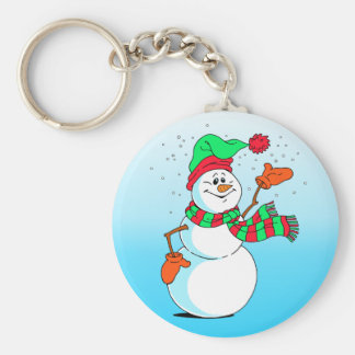Festive Cartoon Snowman Keychain