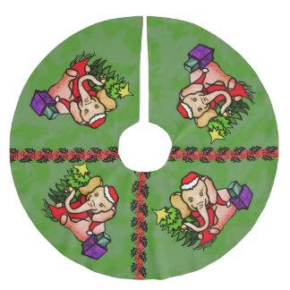 Festive Charming Christmas Santa Elephant Brushed Polyester Tree Skirt