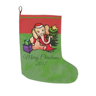 Festive Charming Sweet Cartoon Christmas Elephant Large Christmas Stocking