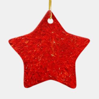 Festive Chic Bright Red Color Pattern Ceramic Star Ornament