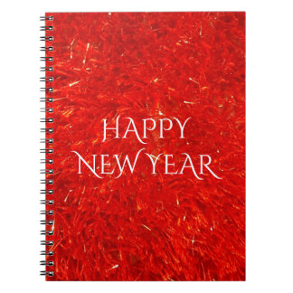 Festive Chic Bright Red Color Pattern Spiral Note Book