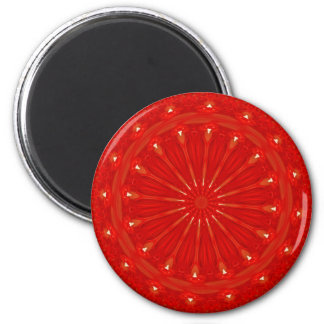 Festive Chic Bright Red Kaleidoscope Design 2 Inch Round Magnet