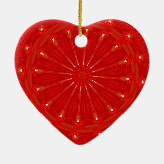 Festive Chic Bright Red Kaleidoscope Design Ceramic Heart Ornament