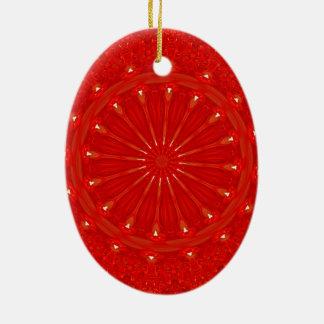Festive Chic Bright Red Kaleidoscope Design Ceramic Oval Ornament