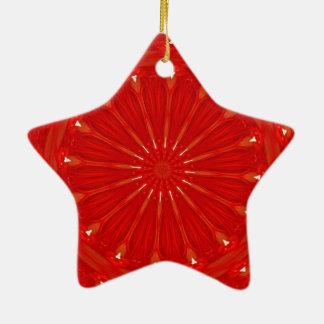 Festive Chic Bright Red Kaleidoscope Design Ceramic Star Ornament