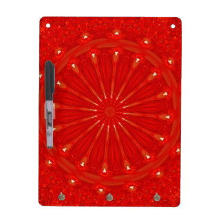 Festive Chic Bright Red Kaleidoscope Design Dry Erase Board