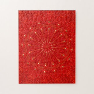 Festive Chic Bright Red Kaleidoscope Design Jigsaw Puzzle