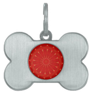 Festive Chic Bright Red Kaleidoscope Design Pet ID Tag