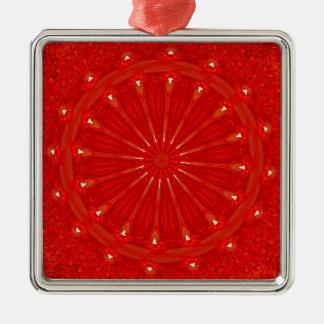 Festive Chic Bright Red Kaleidoscope Design Silver-Colored Square Ornament