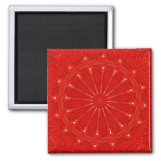 Festive Chic Bright Red Kaleidoscope Design Square Magnet