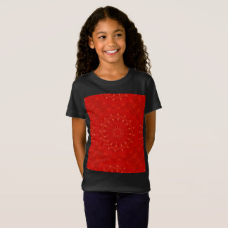 Festive Chic Bright Red Kaleidoscope Design T-Shirt