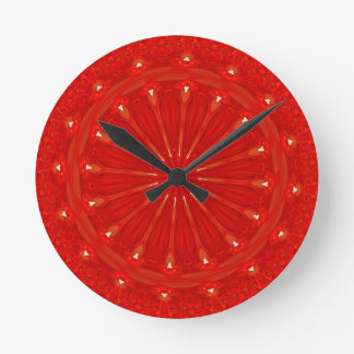 Festive Chic Bright Red Kaleidoscope Design Wall Clocks