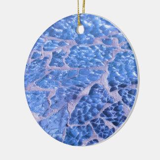 Festive Chic Glitter Blue Stones Round Ceramic Ornament