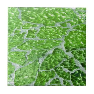 Festive Chic Glitter Green Stone Sparkles Ceramic Tile
