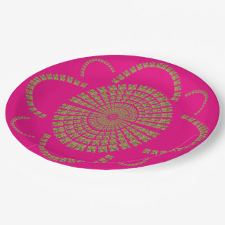 Festive Chic Gold Hot Pink Party Decorative Flower 9 Inch Paper Plate