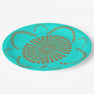 Festive Chic Gold Turquoise Decorative Flower 9 Inch Paper Plate