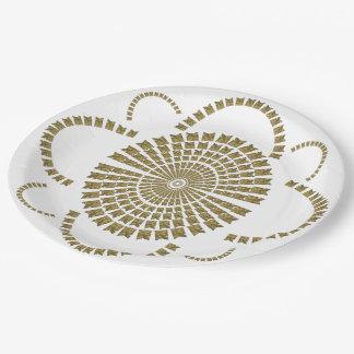Festive Chic Shiny Gold White Bridal Decorative 9 Inch Paper Plate