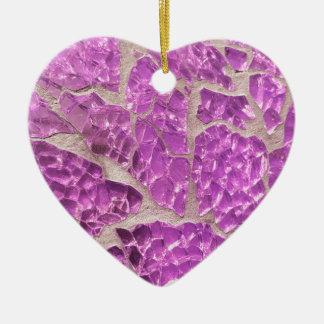 Festive Chic Shiny Pink Grey Stones Ceramic Heart Ornament