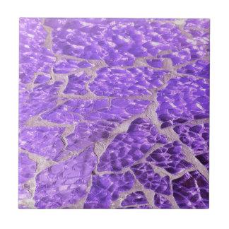 Festive Chic Shiny Purple Glitter Stones Tile