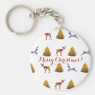 Festive  Christmas Button Key Ring