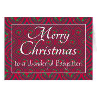 Festive Christmas Card, for Babysitter, Red, Green Card