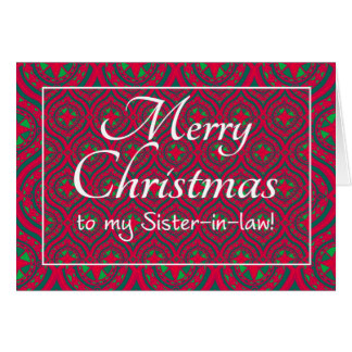 Festive Christmas Card for Sister-in-law Red Green