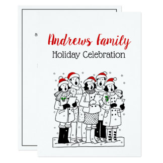 Festive Christmas Carolers with Snow Xmas Card