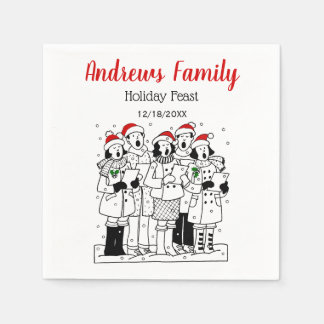Festive Christmas Carolers with Snow Xmas Disposable Napkins