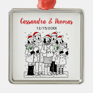 Festive Christmas Carolers with Snow Xmas Metal Ornament
