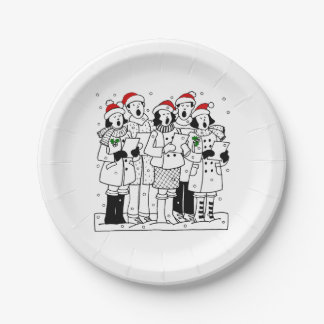 Festive Christmas Carolers with Snow Xmas Paper Plate