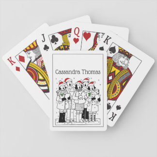Festive Christmas Carolers with Snow Xmas Playing Cards