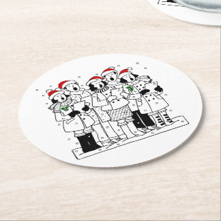 Festive Christmas Carolers with Snow Xmas Round Paper Coaster