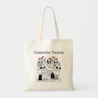 Festive Christmas Carolers with Snow Xmas Tote Bag