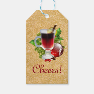 Festive Christmas Cheers Cup of Red Mulled Wine Gift Tags