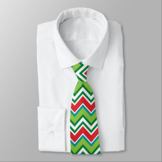 Festive Christmas Colors Chevron Pattern Tie